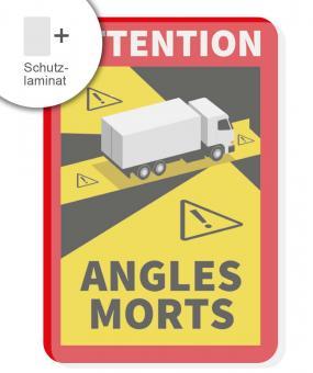Angles Morts Aufkleber festklebend mit Schutzlaminat LKW